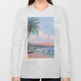 Waikiki Beach, Diamond Head, Oahu landscape painting by D. Howard Hitchcock Long Sleeve T-shirt