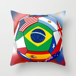 Ball With Various Flags Throw Pillow