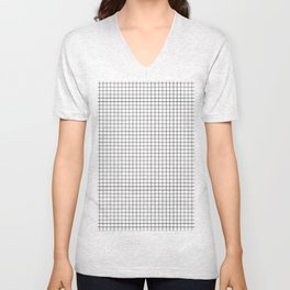 Windowpane White Unisex V-Neck