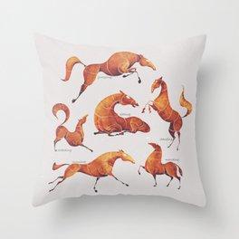 Horse poses Throw Pillow