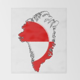 Greenland Map with Flag Throw Blanket
