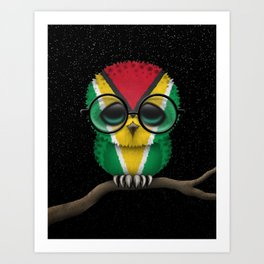 Baby Owl with Glasses and Guyanese Flag Art Print