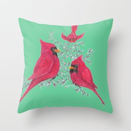 Three Cardinals And Berries Throw Pillow