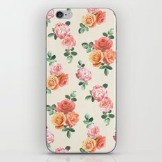 Retro Peach and Pink Roses iPhone & iPod Skin