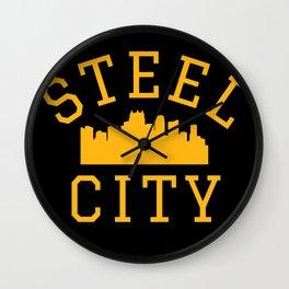 Steel City Pittsburgh Skyline Vintage Print Wall Clock