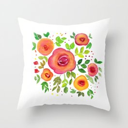 Bright Flowers Floral Bouquet - Watercolor Painting Throw Pillow