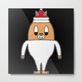 Christmas-Lama Egg Metal Print