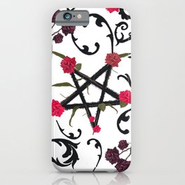 Hand drawn red roses and gothic pattern iPhone Case