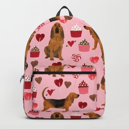 Bloodhounds cupcakes valentines day gifts dog lover pet friendly hearts dog breed Backpack