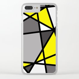 Triangels Geometric Lines yellow - grey - white Clear iPhone Case