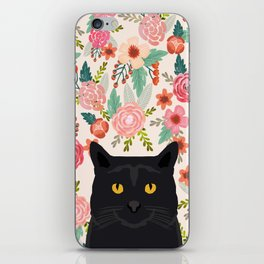 Black Cat cat breed floral pattern background pet gifts cats kitten mom gifts iPhone Skin