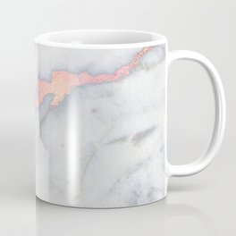 Rosegold Pink on Gray Marble Metallic Foil Style Coffee Mug