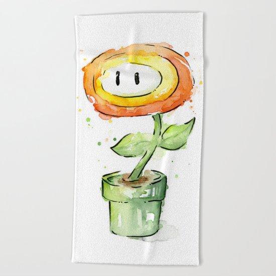 Fireflower Watercolor Painting Beach Towel