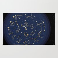 constellations Area & Throw Rugs featuring Constellations by Cina Catteau