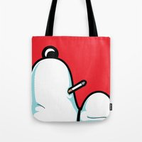 snoopy Tote Bags featuring The Secret Life of Heroes - SIGH by Greg-guillemin