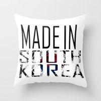 korea Throw Pillows featuring Made In South Korea by VirgoSpice