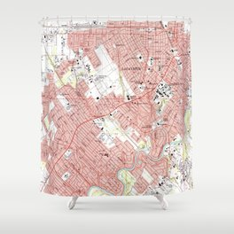 Lafayette Louisiana Map (1983) Shower Curtain