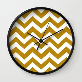 Dark goldenrod - green color - Zigzag Chevron Pattern Wall Clock