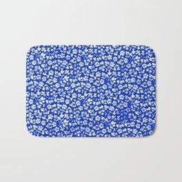 Vintage Flowers Sapphire Blue Bath Mat