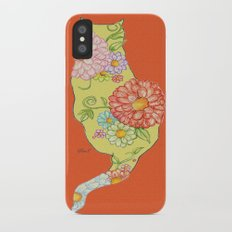 Elegant Kitty Silhouette Red iPhone X Slim Case