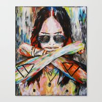30 seconds to mars Canvas Prints featuring Jared Leto 30 Seconds To Mars Original Acrylic Painting by RockChromatic