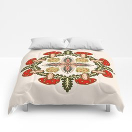 Fly Agaric Toadstool Forest Folkart, Red Fungi Mushroom Design with Trees Comforters