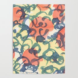 abstract pattern red yellow and blue loops Poster