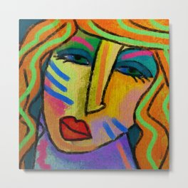 Abstract Digital Painting of a Woman Metal Print