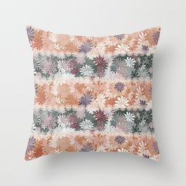 Floral Stripes Throw Pillow
