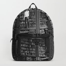 A book lovers dream - Cast-iron Book Alcoves Cincinnati Library black and white photography Backpack