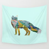 foxes Wall Tapestries featuring Foxes by nessieness
