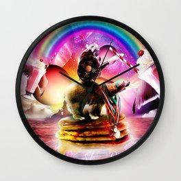 Gorilla Riding Bear With Pancakes And Milkshake Wall Clock