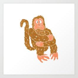 monkey sitting.chimpanzee cartoon. Art Print