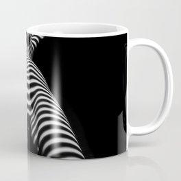 7068s-KMA Black White Nude Abstract Woman on Her Knees Zebra Styriped Coffee Mug