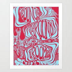 Bouncing Around the Room in Red and Blue Art Print