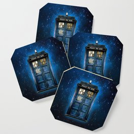 Beautiful tardis with yellow stained glass windows Coaster