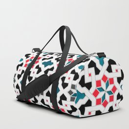 Oriental Pattern - Geometric Design, red / blue / grey Duffle Bag