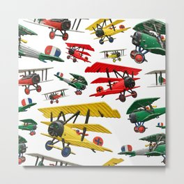 Assorted set of generic vintage First World War toy airplanes Metal Print