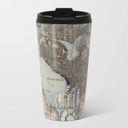 Vintage Map of Seattle Washington (1908) Metal Travel Mug
