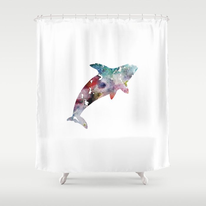Killer Whale Print Blue And Purple Watercolor Orca Shower Curtain By Dreammachineprints