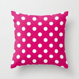 XX Large White on Dark Hot Pink Polka Dots Throw Pillow