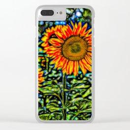 Sunflower Kaleidoscope Clear iPhone Case
