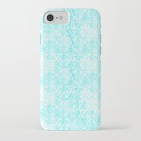 aqua iPhone & iPod Cases featuring Aqua Blue Damask by 2sweet4words Designs