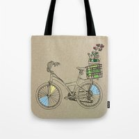 bicycle Tote Bags featuring Bicycle by Madmi