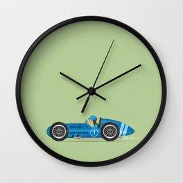 Blue Retro Racing Car Wall Clock