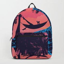 Palm trees on tropical island landscape, sunrise or sunset Backpack