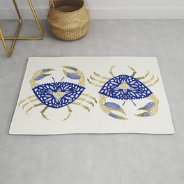 Crab – Navy & Gold Rug
