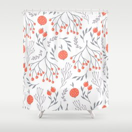 Red Berry Floral Shower Curtain