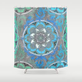 Mint Green, Blue & Aqua Super Boho Medallions Shower Curtain