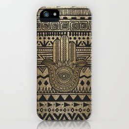 Native Pattern Golden Hamsa Hand iPhone Case